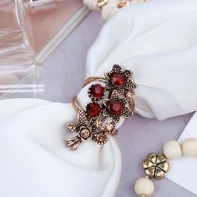 Кольцо для платка 'Букет', цвет коричневый в черненом золоте Ош