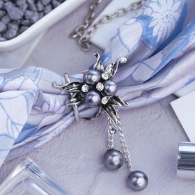 Кольцо для платка 'Карамболь', цвет серый в черненом серебре Ош