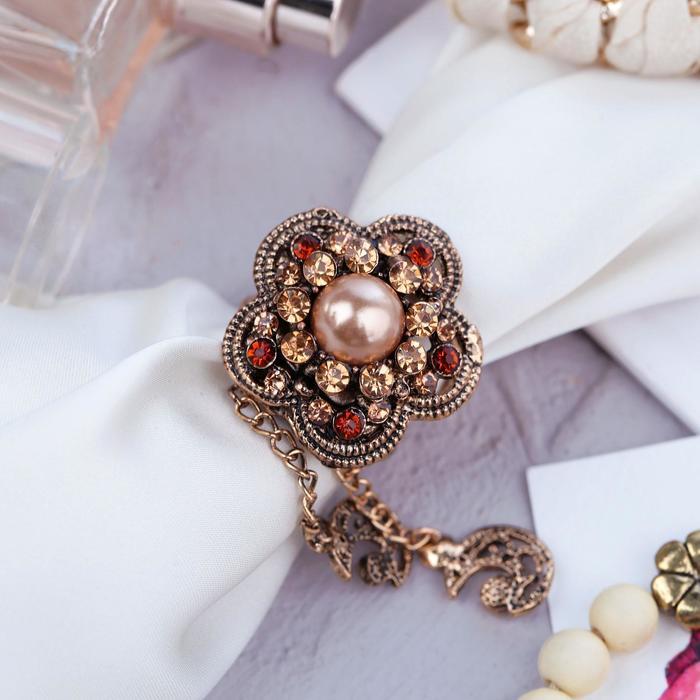 """Кольцо для платка """"Цветок"""" с подвесками, цвет коричневый в черненом золоте"""