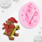 """Молд силиконовый 7,3х5,7х1,5 см """"Новогодний медвежонок"""""""