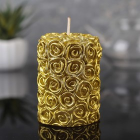 Candle cylinder 4,5х7см Floral, gold