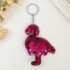 """Брелок текстиль пайетки """"Фламинго"""" розовый 10х7,5 см"""
