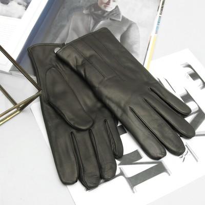 Перчатки мужские, размер 23, кожа козы, подклад флис, цвет чёрный