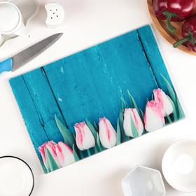 Доска разделочная «Розовые тюльпаны», 30×20 см