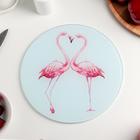"""Доска разделочная 20 см """"Влюбленные фламинго"""""""