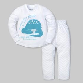 """Пижама (брюки и джемпер) """"Дино"""", белый, р.30 (98-104 см)"""
