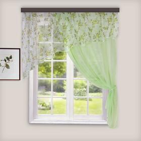 Комплект штор для кухни Византия 280х160 см, цв. св.зеленый правая, пэ 100%