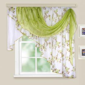 Комплект штор для кухни «Иллюзия», 300х150 см, цвет зелёный, принт микс