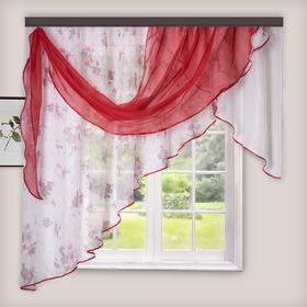 Комплект штор для кухни Иллюзия 300х150 см, цв. красный, левая, пэ 100%