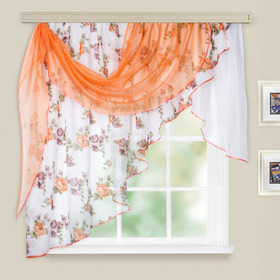 Комплект штор для кухни Иллюзия 300х150 см, персик, левая, пэ 100%