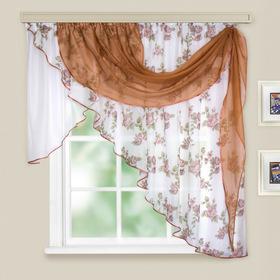 Комплект штор для кухни «Иллюзия», 300х150 см, цвет светло-коричневый