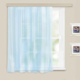 Штора вуаль однотонная 140х145 см, цв. голубой, пэ 100% Ош