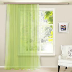 Штора вуаль однотонная 145х260 см, цв. зел. яблоко, пэ 100%