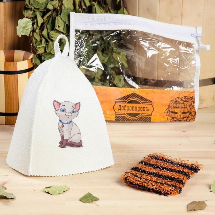"""Набор для бани детский """"Котёнок"""" в косметичке: шапка с принтом, мочалка"""