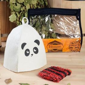 """Набор для бани детский """"Панда"""" в косметичке: шапка с принтом, мочалка"""