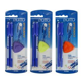 Набор шариковых ручек «Пиши-стирай» Tratto Ftratto Cancellik + ластик, синие чернила, 2 штуки, МИКС