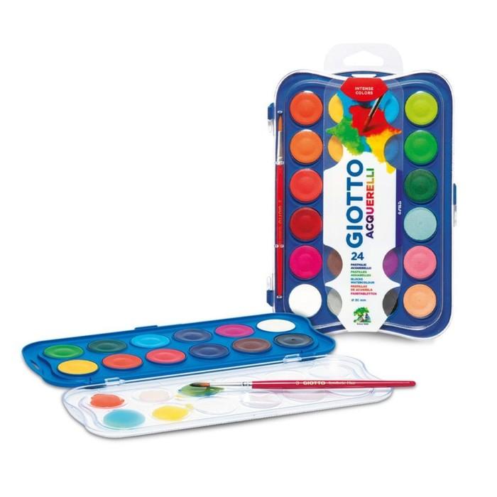 Акварель сухая GIOTTO Colour Blocks, 24 цвета, d=30 мм, с кистью