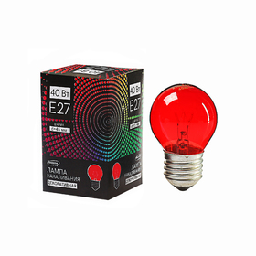 Лампа накаливания Luazon Lighthing E27, 40W, декоративная, красная, 220 В