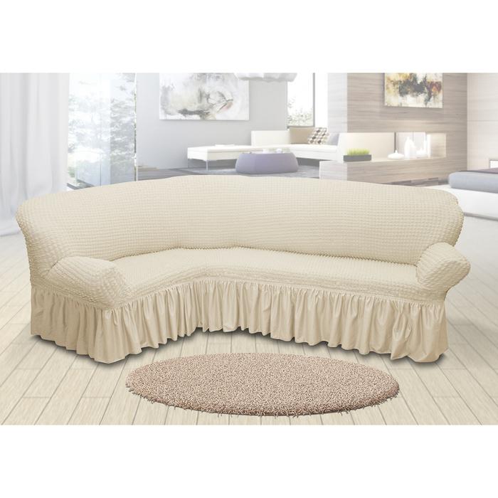 Чехол для мягкой мебели угловой диван 3-х местный 6001, трикотаж, 100%пэ, упаковка микс