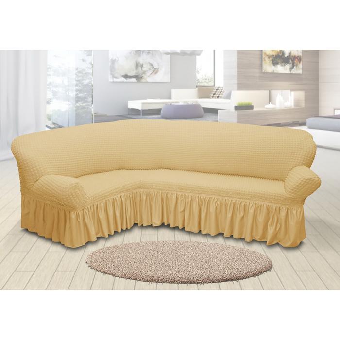 Чехол для мягкой мебели угловой диван 3-х местный 6084, трикотаж, 100%пэ, упаковка микс