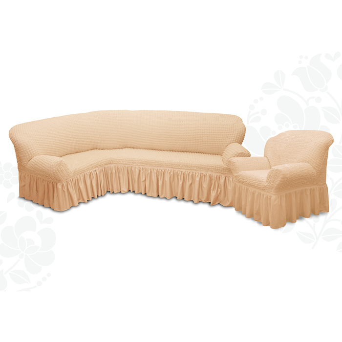 Чехол для мягкой мебели 2пред диван угловой, кресло 6084, трикотаж, 100%пэ, упаковка микс