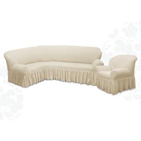 Чехол для мягкой мебели 2пред диван угловой, кресло 6001, трикотаж, 100%пэ,