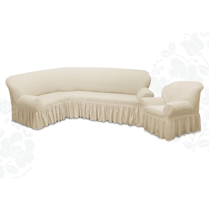 Чехол для мягкой мебели 2пред диван угловой, кресло 6001, трикотаж, 100%пэ, упаковка микс