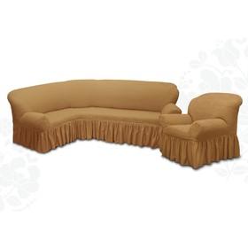 Чехол для мягкой мебели 2пред диван угловой, кресло 6083, трикот, 100%пэ,