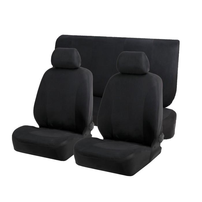 Авточехлы TORSO Premium универсальные, велюр, 6 предметов, чёрный AV-39