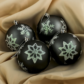 "A set of plastic balls d 8 cm 4 piece ""night"" snowflake"