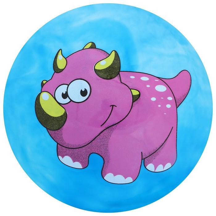 Мяч детский «Динозаврики», d=19 см, 60 г, цвет голубой, рисунок МИКС