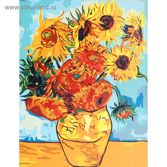 "Роспись по холсту ""Подсолнухи Ван Гог"" по номерам с красками по 3 мл + кисти + инструкция + крепеж"