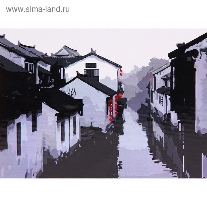 """Роспись по холсту """"Древний Китай"""" по номерам с красками по 3 мл + кисти + инструкция + крепеж"""