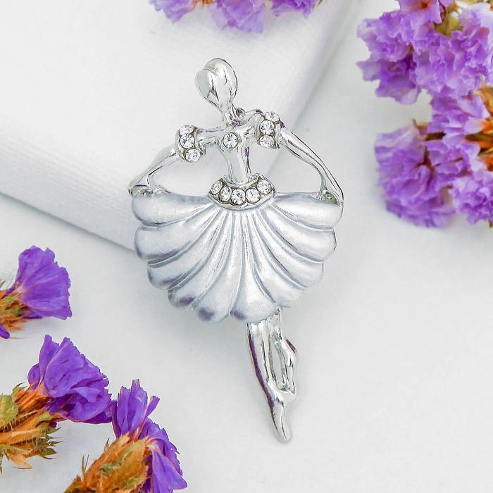 """Брошь """"Балерина"""" в плиссированной юбке, цвет серый в серебре"""