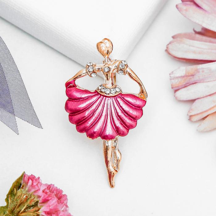 """Брошь """"Балерина"""" в плиссированной юбке, цвет розовый в золоте"""