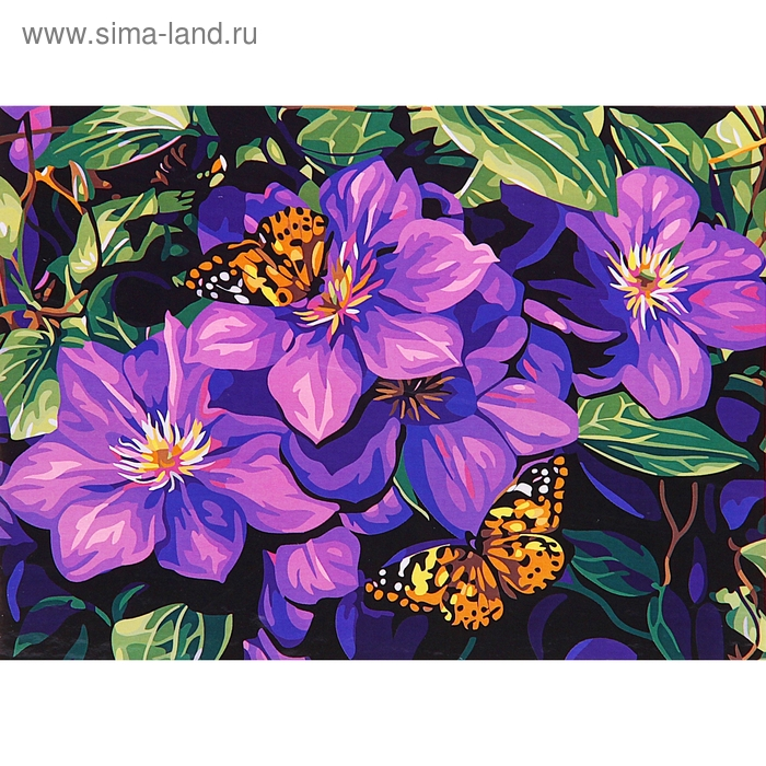 "Роспись по холсту ""Бабочки на цветах"" по номерам с красками по 3 мл + кисти + инструкция + крепеж"