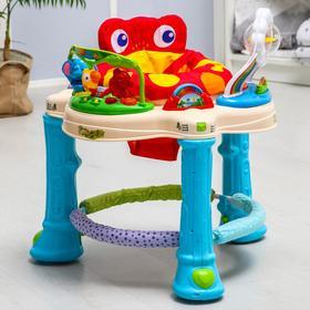 Ходунки детские 2 в 1 «Лягушонок», игровой центр 360 градусов, выдвижные колёса, музыкальные и световые эффекты