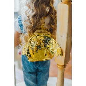 Рюкзак детский, отдел на молнии, с крыльями, цвет золото