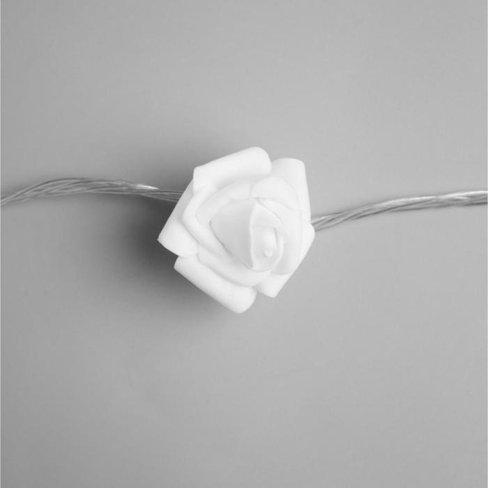 """НИТЬ с насадками 5 м """"Розы белые"""" 7 см, Н. С. УМС вилка, 20 LED-220V, фиксинг, ТЕПЛЫЙ БЕЛЫЙ"""