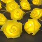 """НИТЬ с насадками 5 м """"Розы желтые"""" 7 см, Н. С. УМС вилка, 20 LED-220V, фиксинг, ТЕПЛЫЙ БЕЛЫЙ"""