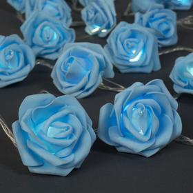 """НИТЬ с насадками 5 м """"Розы синие"""" 7 см, Н. С. УМС вилка, 20 LED-220V, фиксинг, ТЕПЛЫЙ БЕЛЫЙ"""