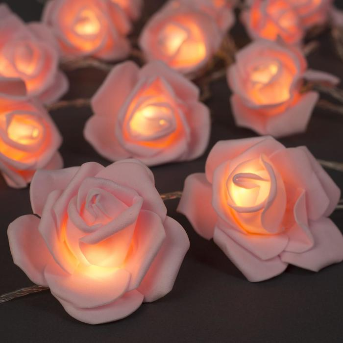 """НИТЬ с насад. 5 м """"Розы светло-розовые"""" 7 см, Н.С. УМС вилка, 20 LED-220V, фикс,ТЕПЛЫЙ БЕЛЫЙ"""