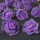 """НИТЬ с насадками 5 м """"Розы фиолетовые"""" 7 см, Н. С. УМС вилка, 20 LED-220V, фикс,ТЕПЛЫЙ БЕЛЫЙ"""