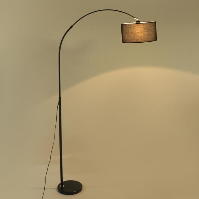Торшер напольный «Атлант», Е27, 60 Вт, чёрный, подставка камень, лампа крутится, 180 × 90 × 34 см