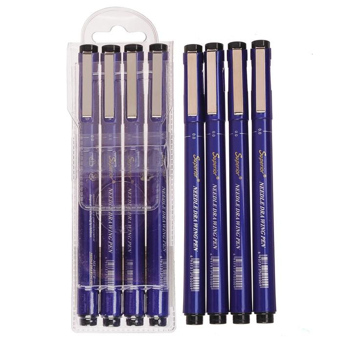 Набор чёрных линеров Superior, 4 шт.: 0.05 мм, 0.2 мм, 0.4 мм, 0.6 мм