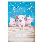 "Блокнот А6, 24 листа на скрепке Calligrata ""Свинки на вечеринке"", обложка картон хром-эрзац"
