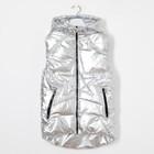 Жилет для девочки с капюшоном, с клапанами, серебро, рост 116-122 см