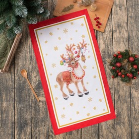 "Towel ""Ethel: Christmas deer"", 40 × 67 cm, 100 % cotton, twill, 190 g/m2"