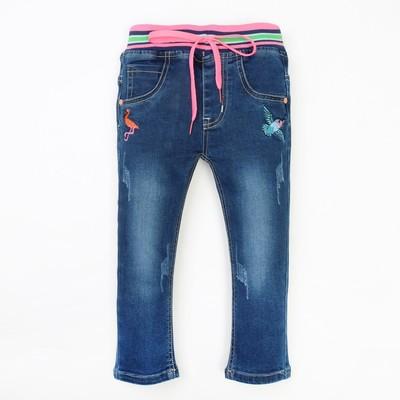 Джинсы для девочки вышивка фламинго А.2819, синий, рост 98