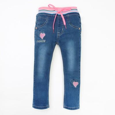 Джинсы для девочки вышивка сердечки А.2816, синий, рост 98